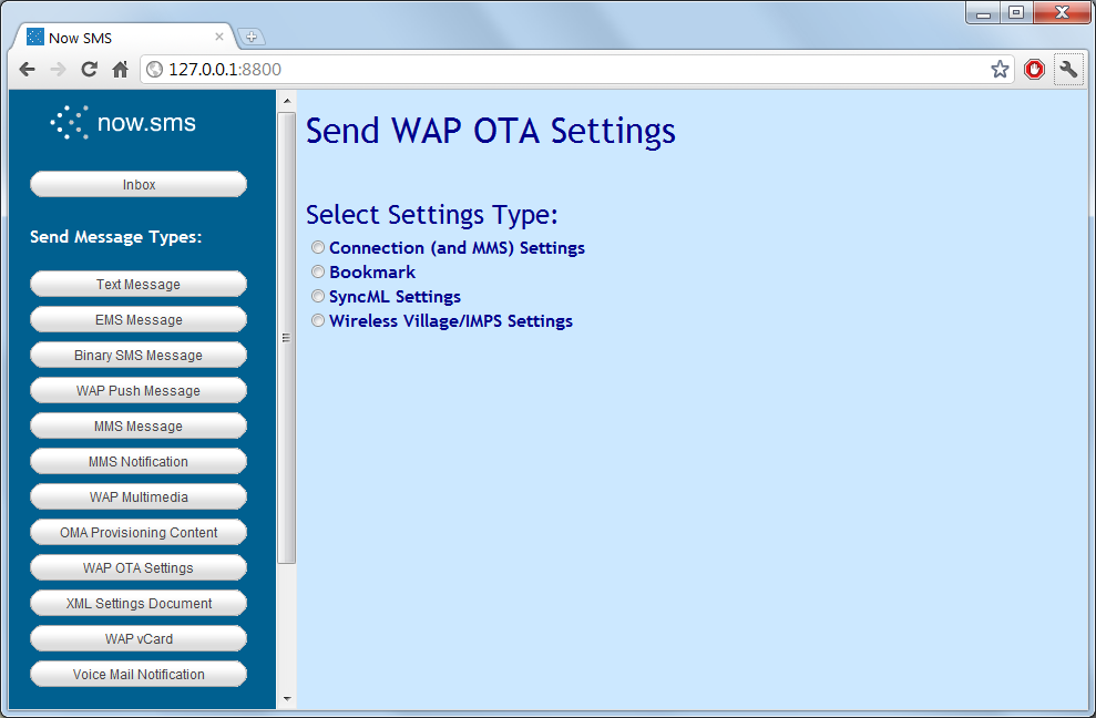 Send WAP OTA Settings | NowSMS