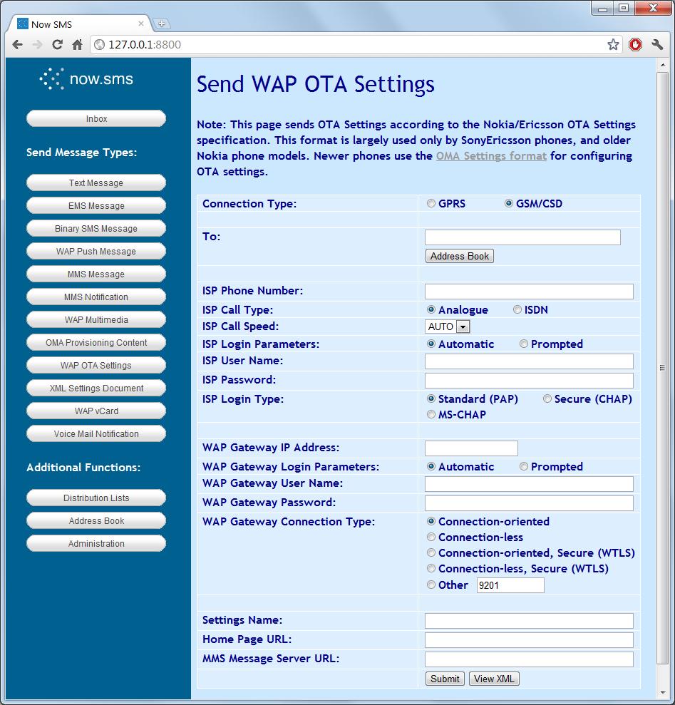 Send WAP OTA Settings | NowSMS