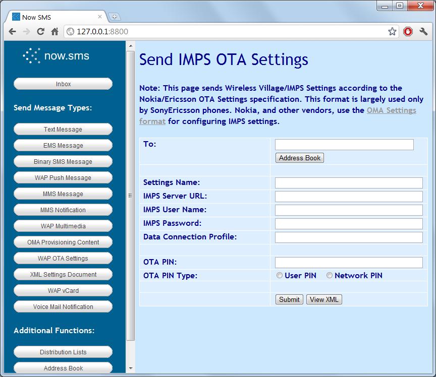 Send WAP OTA Settings   NowSMS