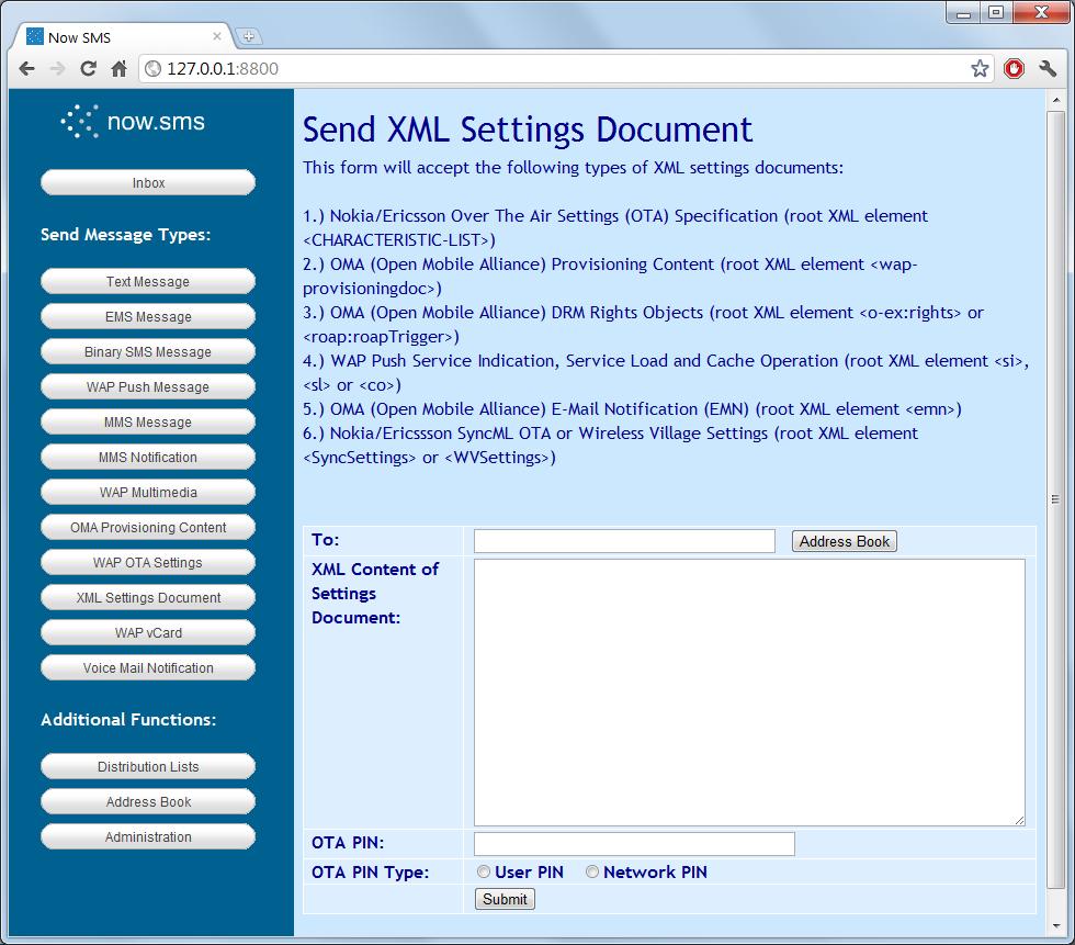 Send XML Settings | NowSMS
