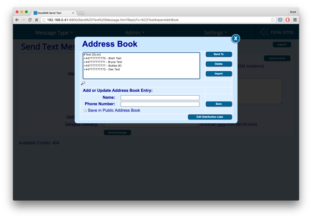 NowSMS Address Book