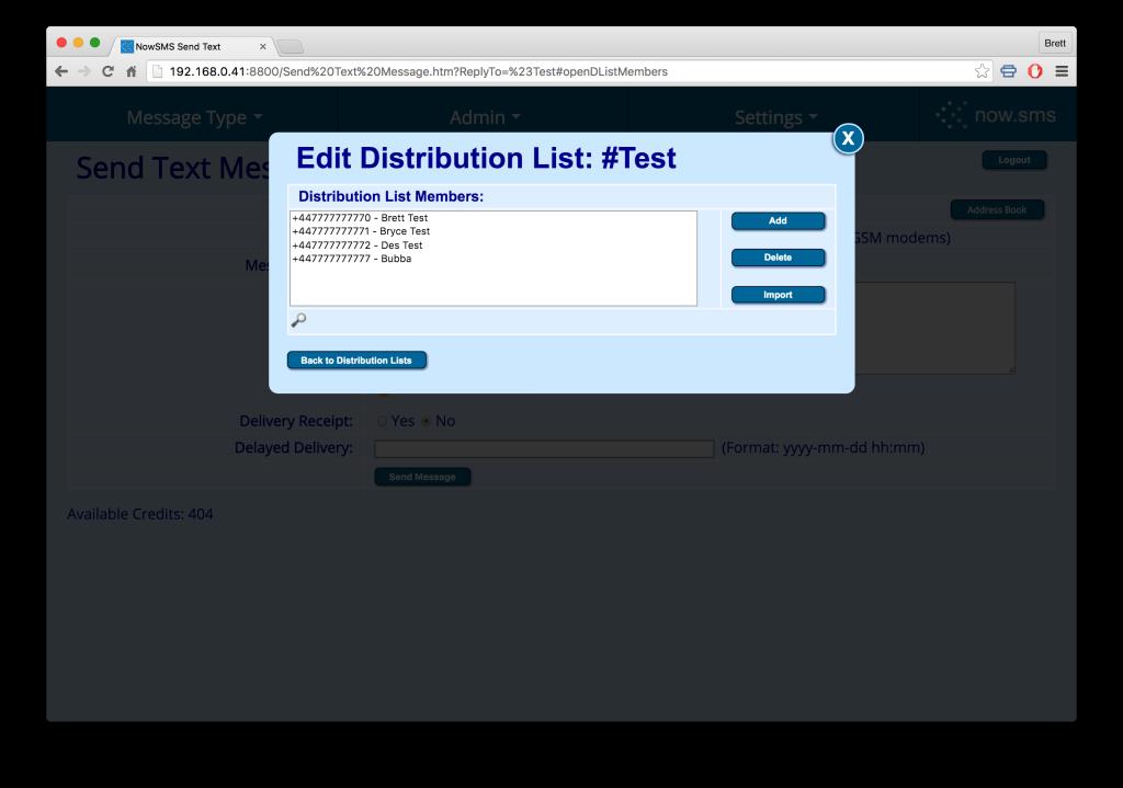 NowSMS Distribution Lists